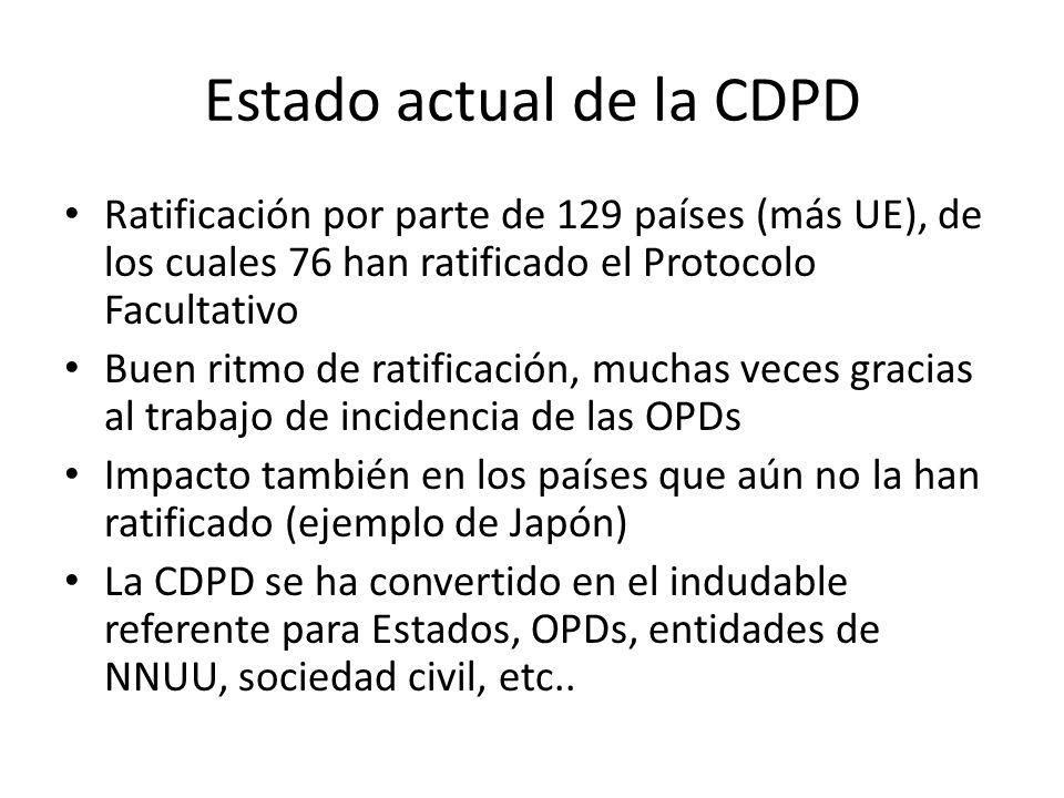 Estado actual de la CDPD Ratificación por parte de 129 países (más UE), de los cuales 76 han ratificado el Protocolo Facultativo Buen ritmo de ratific
