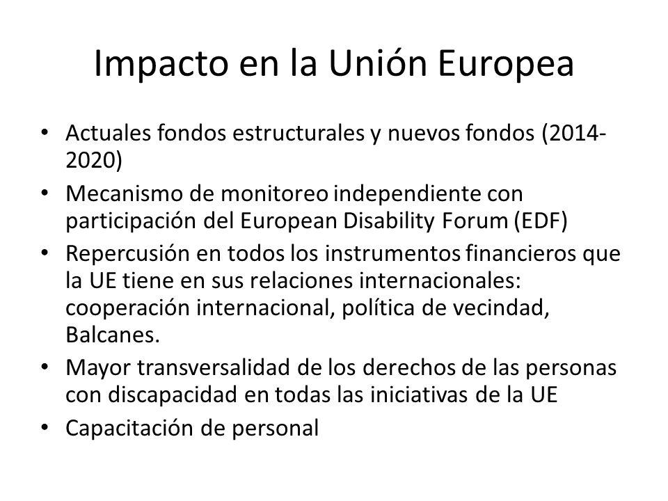 Impacto en la Unión Europea Actuales fondos estructurales y nuevos fondos (2014- 2020) Mecanismo de monitoreo independiente con participación del Euro