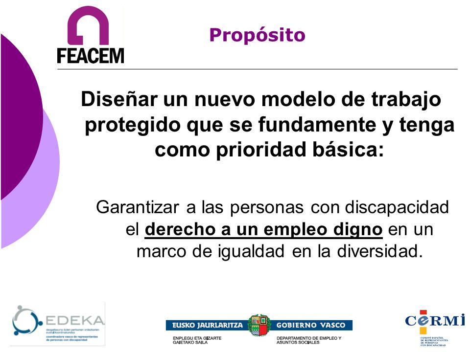 Propósito Diseñar un nuevo modelo de trabajo protegido que se fundamente y tenga como prioridad básica: Garantizar a las personas con discapacidad el