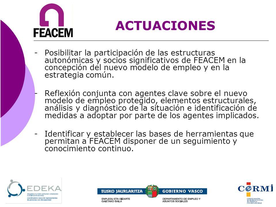 -Posibilitar la participación de las estructuras autonómicas y socios significativos de FEACEM en la concepción del nuevo modelo de empleo y en la est