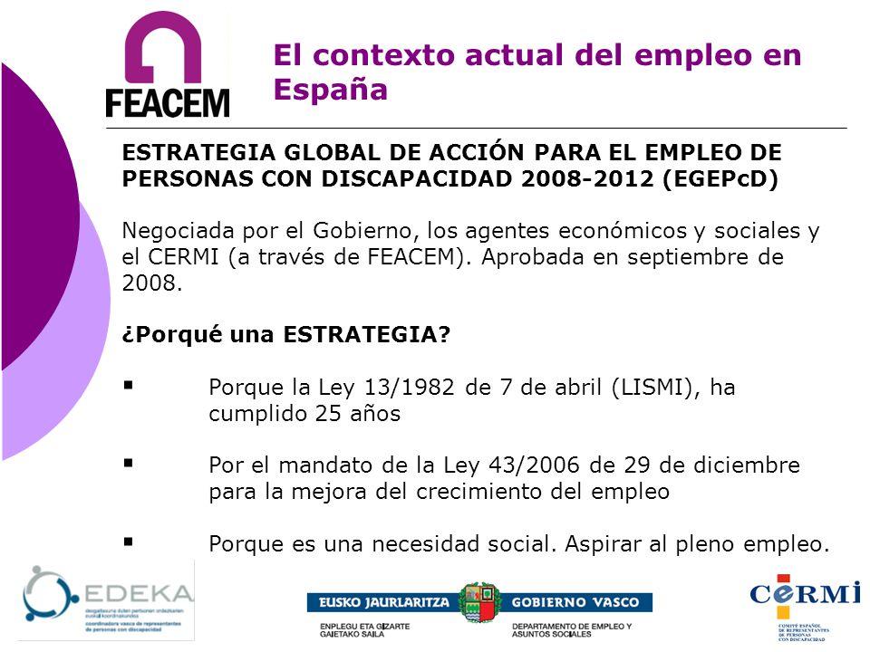 El contexto actual del empleo en España ESTRATEGIA GLOBAL DE ACCIÓN PARA EL EMPLEO DE PERSONAS CON DISCAPACIDAD 2008-2012 (EGEPcD) Negociada por el Go
