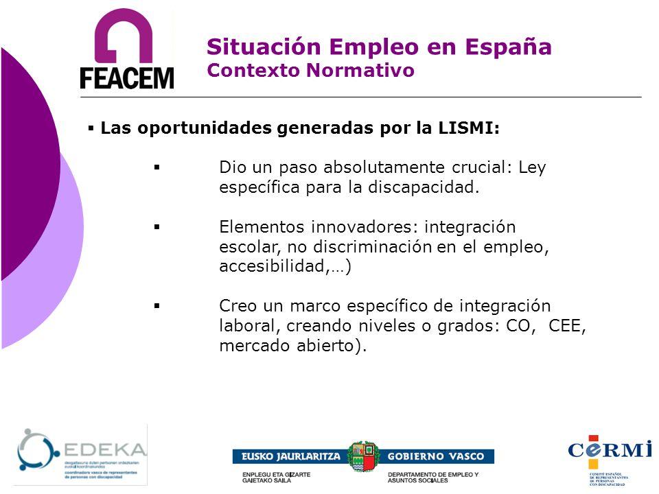Las oportunidades generadas por la LISMI: Dio un paso absolutamente crucial: Ley específica para la discapacidad. Elementos innovadores: integración e