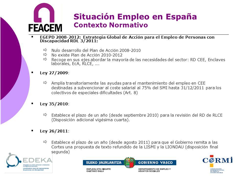 EGEPD 2008-2012: Estrategia Global de Acción para el Empleo de Personas con Discapacidad RDL 3/2011: Nulo desarrollo del Plan de Acción 2008-2010 No e