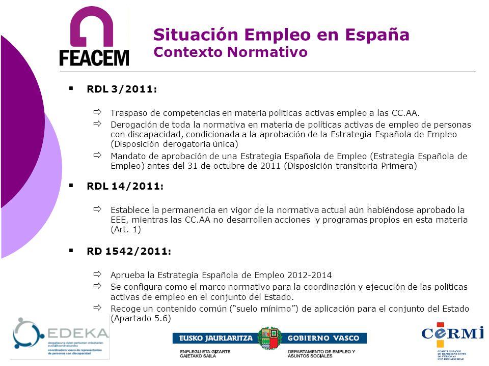 RDL 3/2011: Traspaso de competencias en materia políticas activas empleo a las CC.AA. Derogación de toda la normativa en materia de políticas activas
