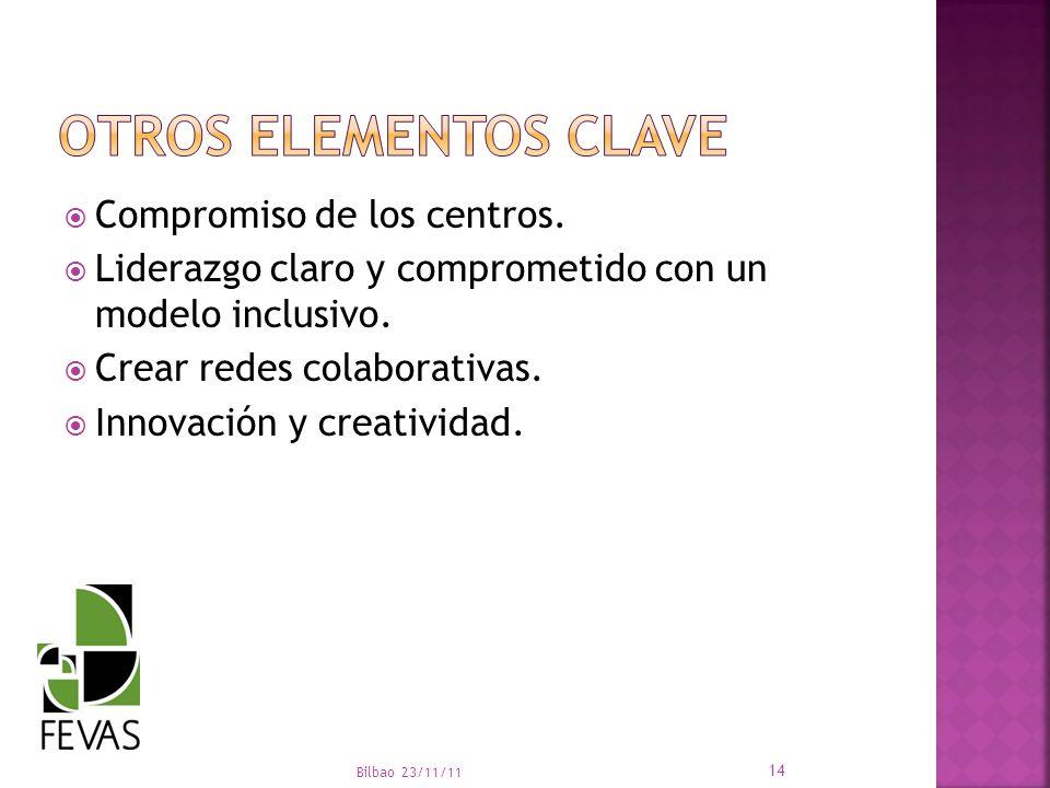 Compromiso de los centros. Liderazgo claro y comprometido con un modelo inclusivo. Crear redes colaborativas. Innovación y creatividad. Bilbao 23/11/1