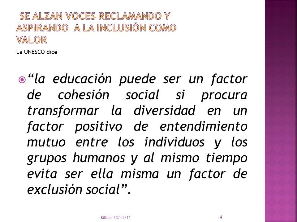 Bilbao 23/11/11 15 El reciente informe de la Organización Mundial de la Salud sobre la Discapacidad, publicado en junio de 2011, recoge el sentir mayoritario de que la inclusión de alumnos con discapacidad no tiene un impacto negativo en el rendimiento académico de los alumnos sin discapacidad.