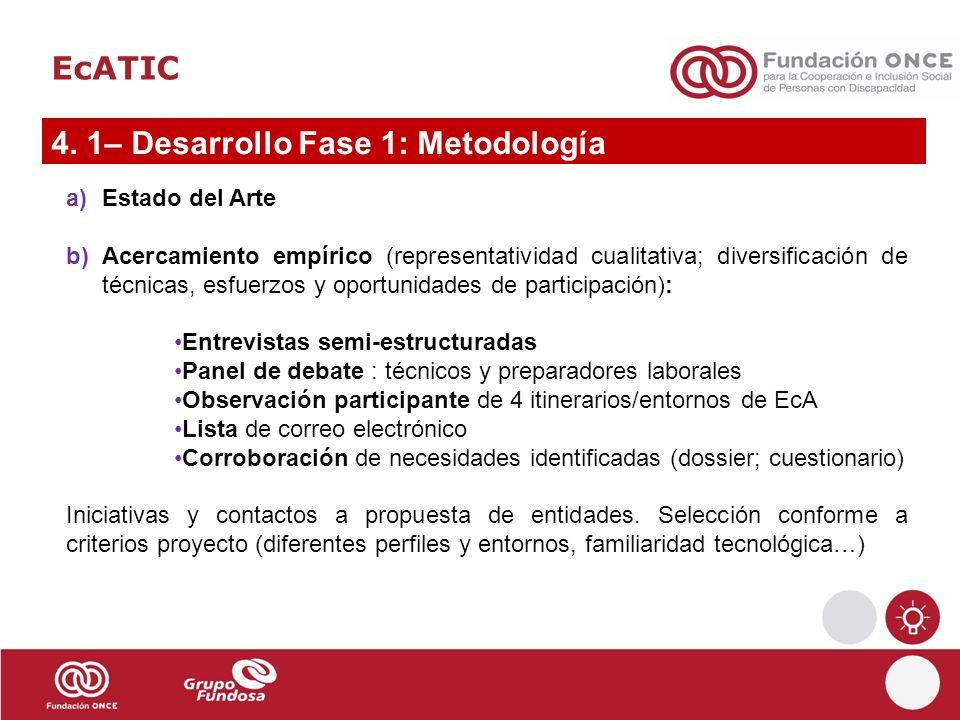 EcATIC 4. 1– Desarrollo Fase 1: Metodología a)Estado del Arte b)Acercamiento empírico (representatividad cualitativa; diversificación de técnicas, esf
