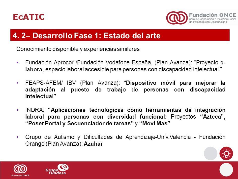 EcATIC 4. 2– Desarrollo Fase 1: Estado del arte Conocimiento disponible y experiencias similares Fundación Aprocor /Fundación Vodafone España, (Plan A