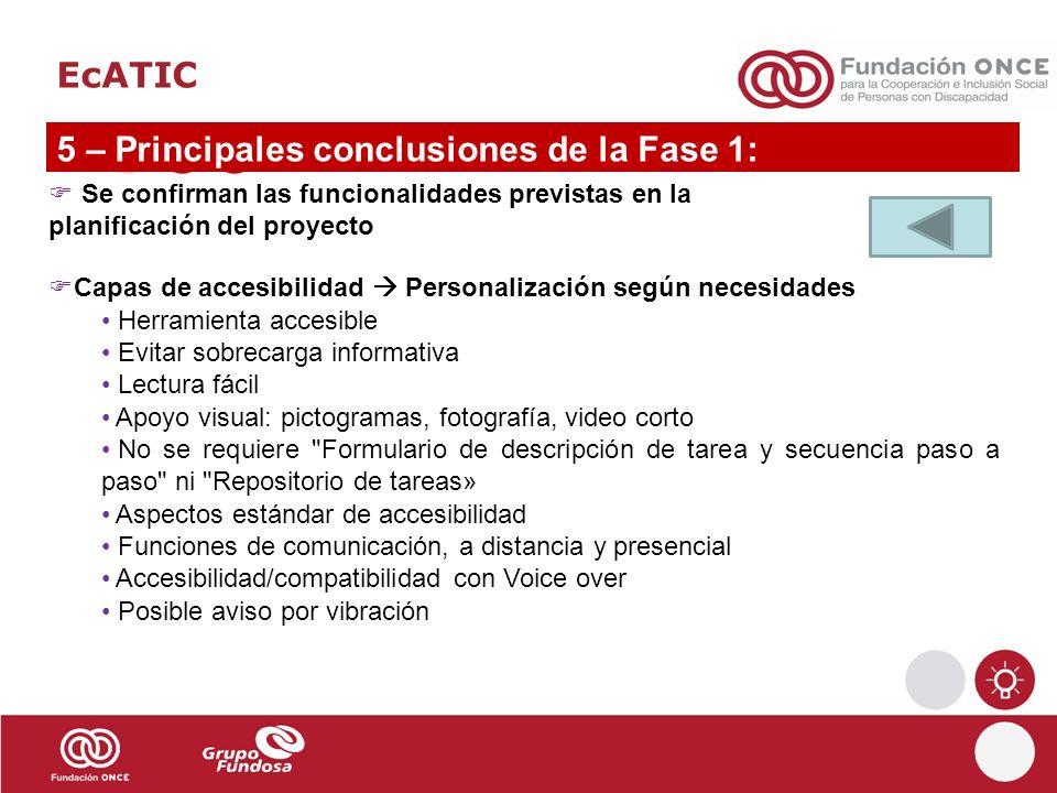 EcATIC 5 – Principales conclusiones de la Fase 1: Se confirman las funcionalidades previstas en la planificación del proyecto Capas de accesibilidad P