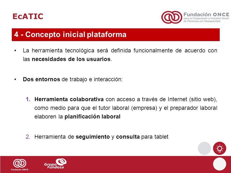 EcATIC La herramienta tecnológica será definida funcionalmente de acuerdo con las necesidades de los usuarios. Dos entornos de trabajo e interacción: