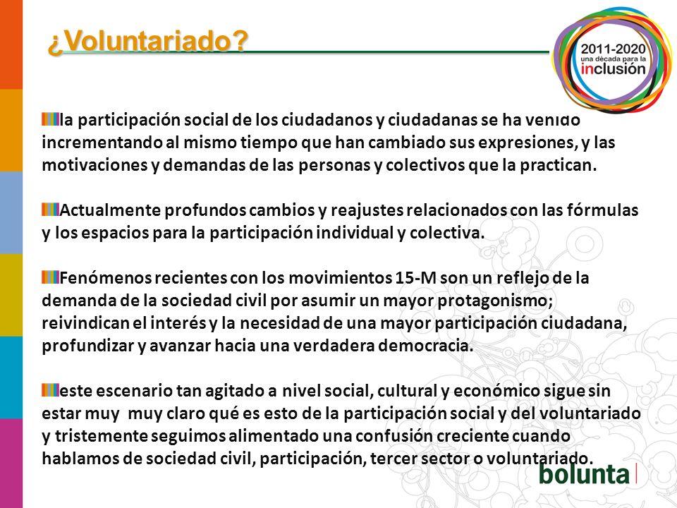 Algunos de los rasgos que definen la evolución del tercer sector y que están condicionando el desarrollo del voluntariado son los siguientes: Vocación de complementariedad del tercer sector con la esfera pública.