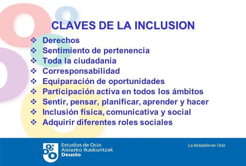 La Inclusión en Ocio CLAVES DE LA INCLUSION Derechos Sentimiento de pertenencia Toda la ciudadanía Corresponsabilidad Equiparación de oportunidades Pa