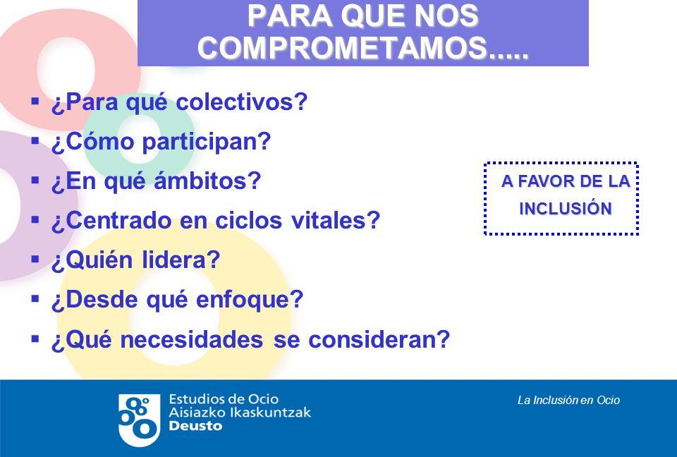 La Inclusión en Ocio ¿Para qué colectivos? ¿Cómo participan? ¿En qué ámbitos? ¿Centrado en ciclos vitales? ¿Quién lidera? ¿Desde qué enfoque? ¿Qué nec