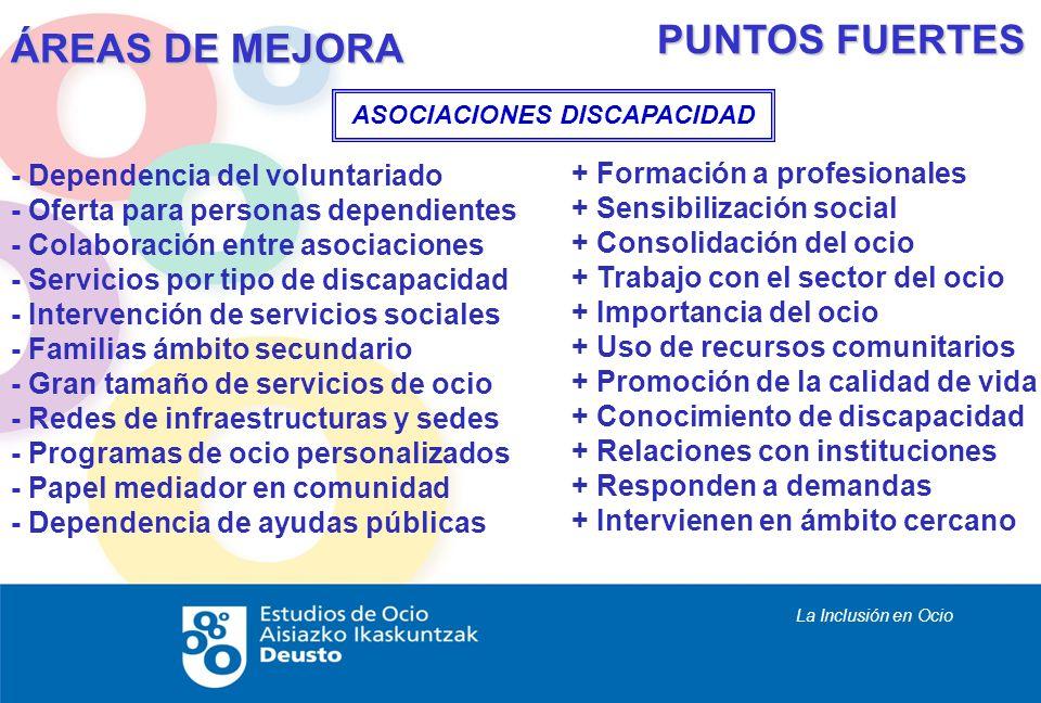 La Inclusión en Ocio - Dependencia del voluntariado - Oferta para personas dependientes - Colaboración entre asociaciones - Servicios por tipo de disc