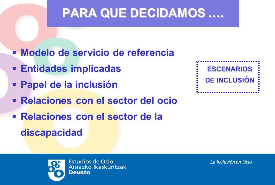 La Inclusión en Ocio Modelo de servicio de referencia Entidades implicadas Papel de la inclusión Relaciones con el sector del ocio Relaciones con el s