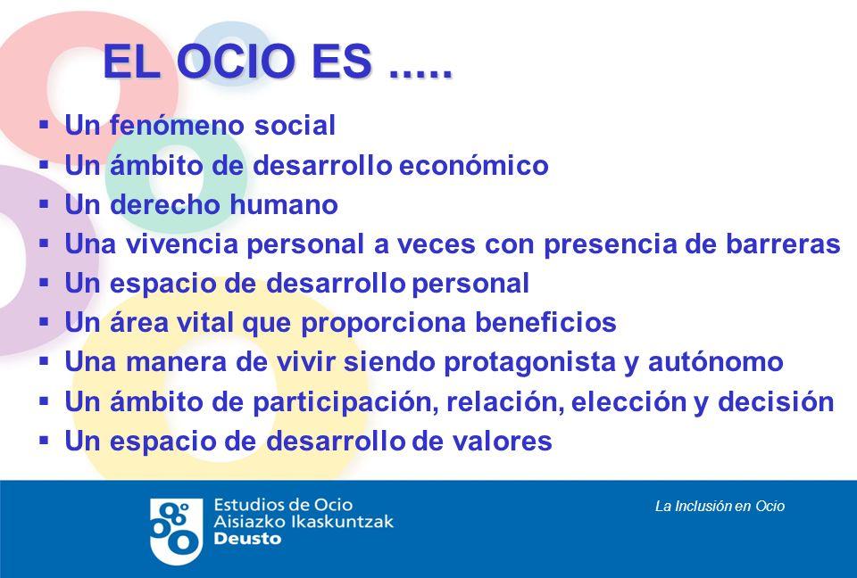 La Inclusión en Ocio EL OCIO ES..... Un fenómeno social Un ámbito de desarrollo económico Un derecho humano Una vivencia personal a veces con presenci