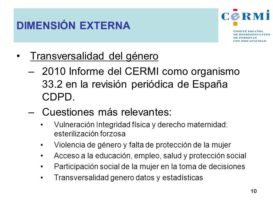 Transversalidad del género –2010 Informe del CERMI como organismo 33.2 en la revisión periódica de España CDPD. –Cuestiones más relevantes: Vulneració