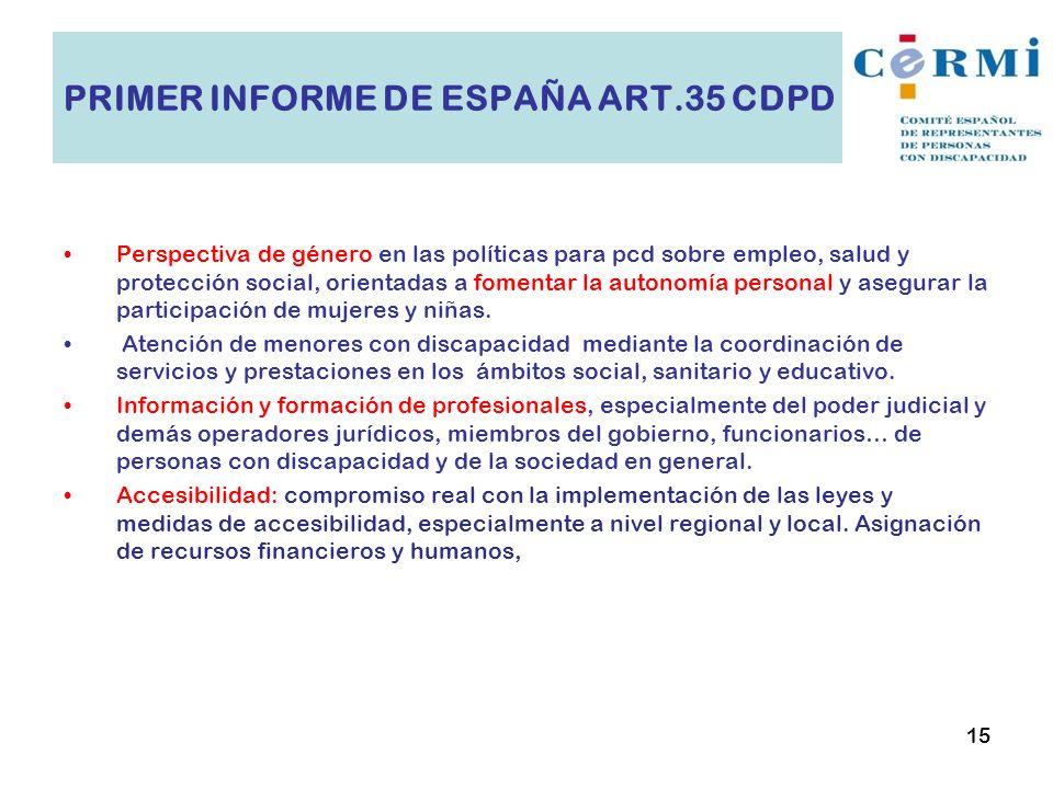 Perspectiva de género en las políticas para pcd sobre empleo, salud y protección social, orientadas a fomentar la autonomía personal y asegurar la par
