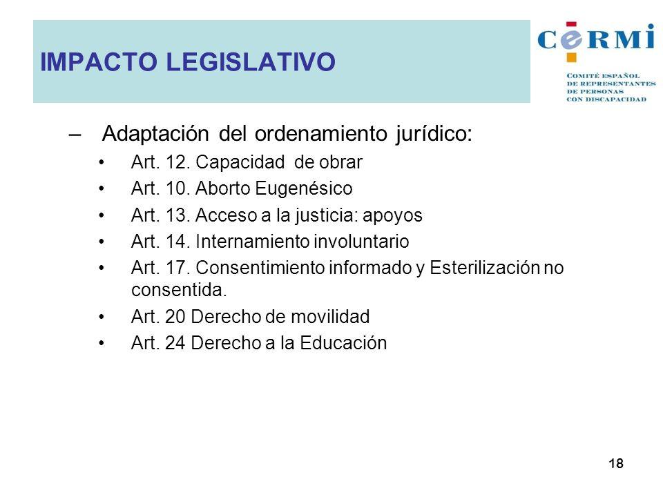–Adaptación del ordenamiento jurídico: Art. 12. Capacidad de obrar Art. 10. Aborto Eugenésico Art. 13. Acceso a la justicia: apoyos Art. 14. Internami