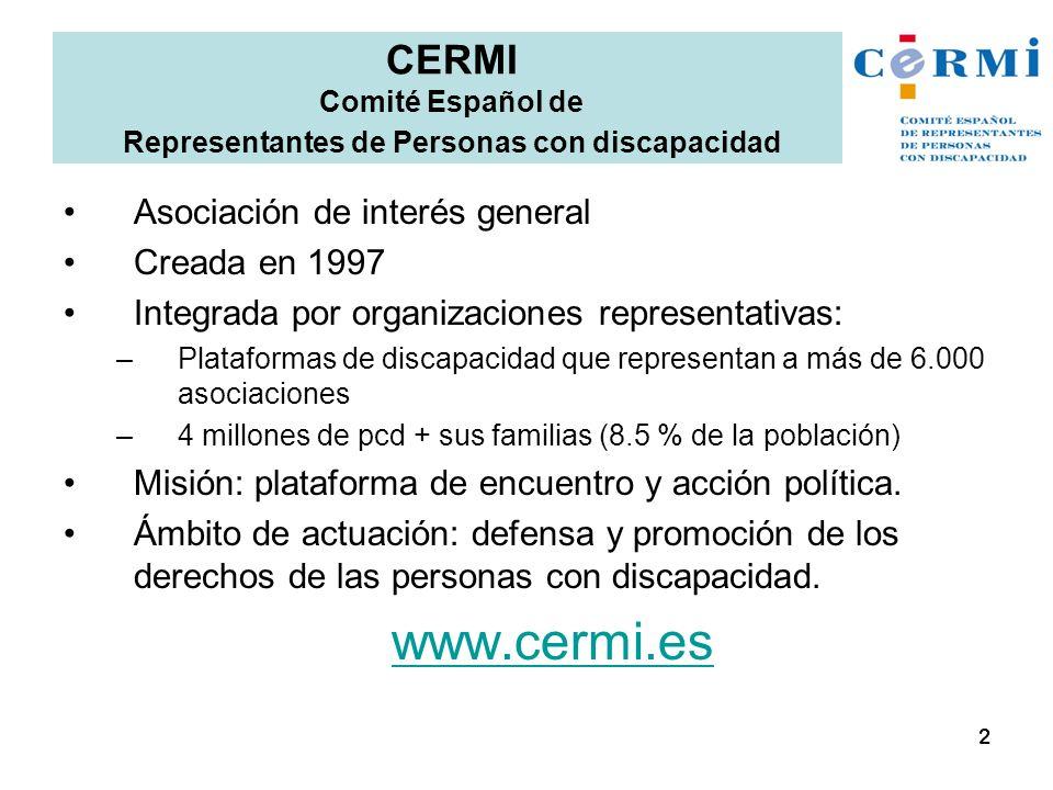 Asociación de interés general Creada en 1997 Integrada por organizaciones representativas: –Plataformas de discapacidad que representan a más de 6.000