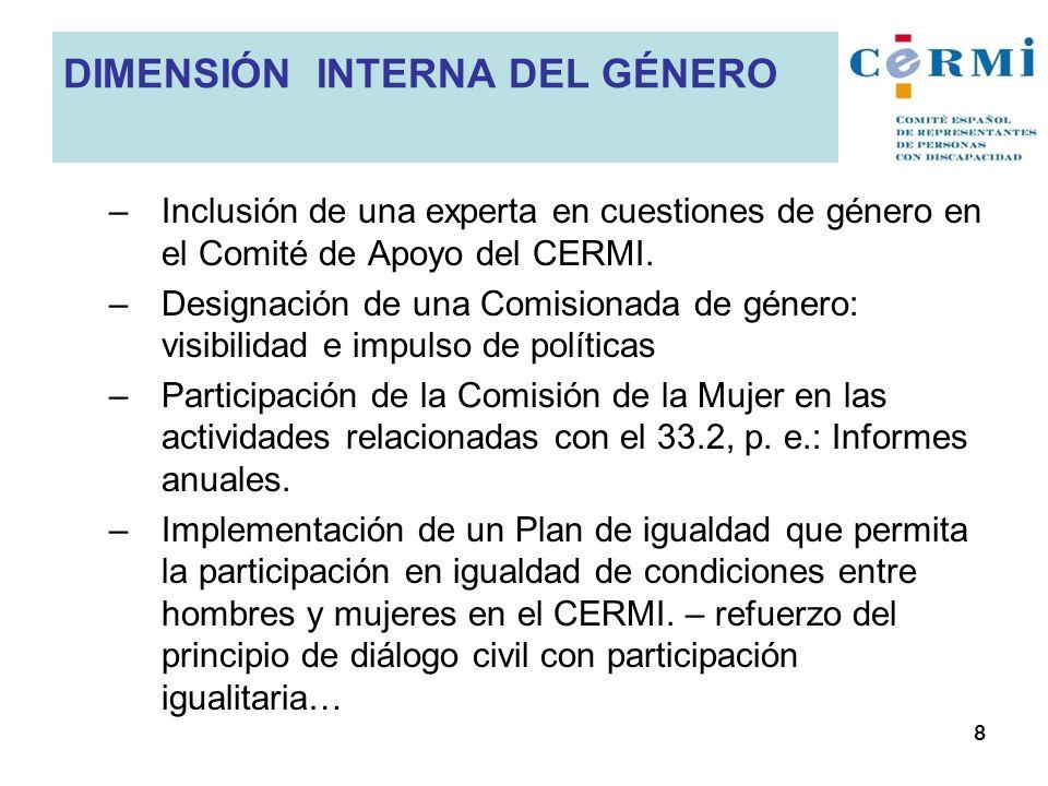–Inclusión de una experta en cuestiones de género en el Comité de Apoyo del CERMI. –Designación de una Comisionada de género: visibilidad e impulso de