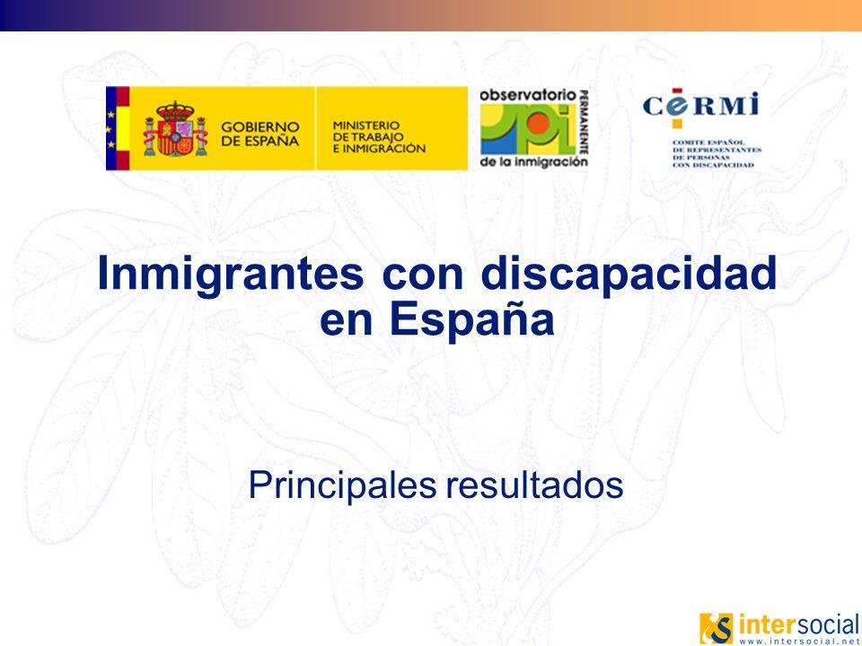 Inmigrantes con discapacidad en España Principales resultados