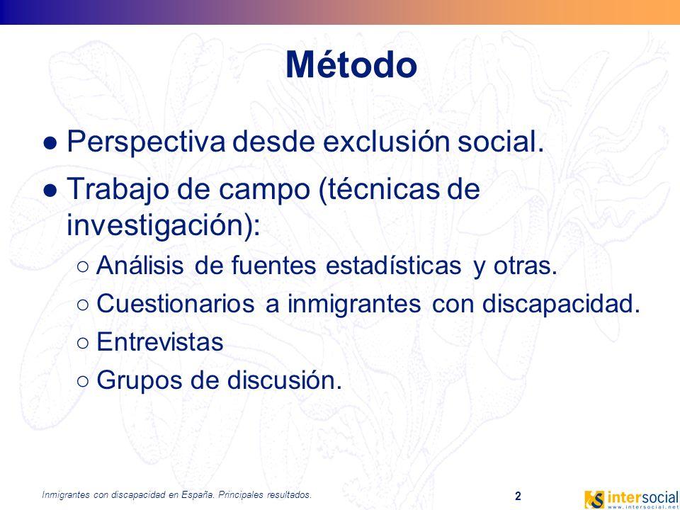 Inmigrantes con discapacidad en España. Principales resultados. 2 Método Perspectiva desde exclusión social. Trabajo de campo (técnicas de investigaci