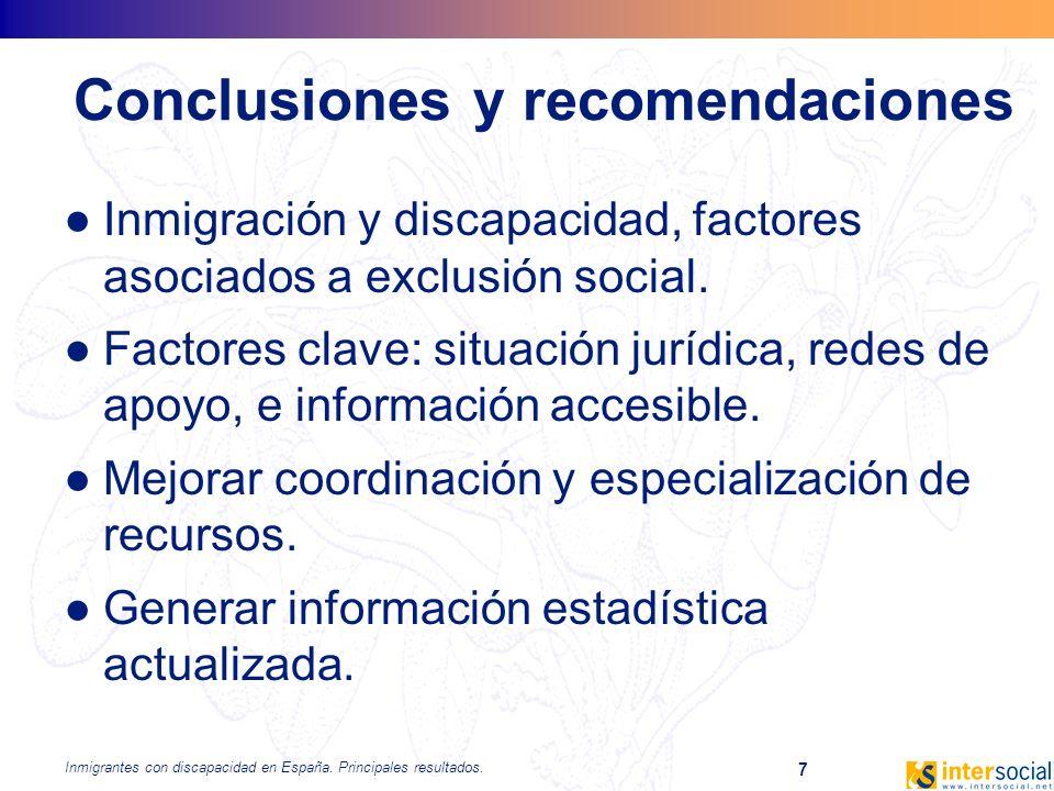 Inmigrantes con discapacidad en España. Principales resultados. 7 Conclusiones y recomendaciones Inmigración y discapacidad, factores asociados a excl