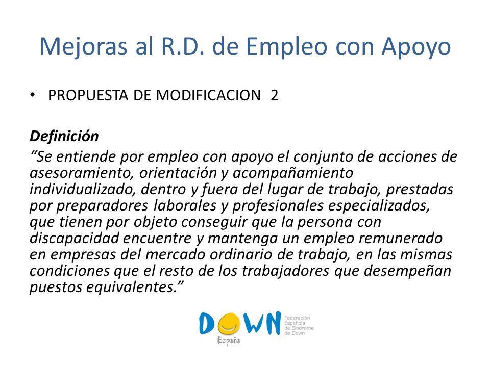 PROPUESTA DE MODIFICACION 3 El Servicio de Empleo con Apoyo debe de abarcar estas fases 1º Acciones previas al momento de la contratación: 2º Acciones en el puesto de trabajo.
