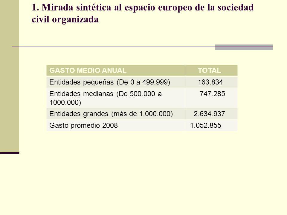 1. Mirada sintética al espacio europeo de la sociedad civil organizada GASTO MEDIO ANUAL TOTAL Entidades pequeñas (De 0 a 499.999) 163.834 Entidades m