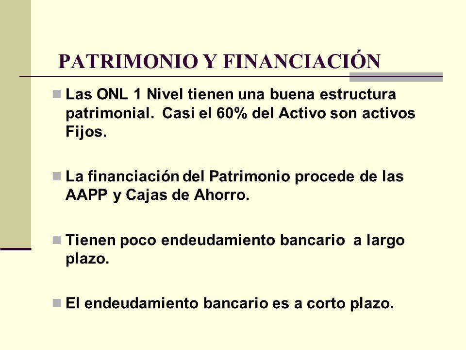 PATRIMONIO Y FINANCIACIÓN Las ONL 1 Nivel tienen una buena estructura patrimonial. Casi el 60% del Activo son activos Fijos. La financiación del Patri