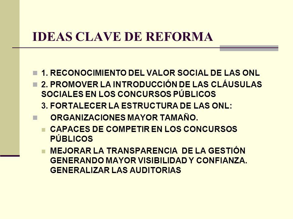 IDEAS CLAVE DE REFORMA 1. RECONOCIMIENTO DEL VALOR SOCIAL DE LAS ONL 2. PROMOVER LA INTRODUCCIÓN DE LAS CLÁUSULAS SOCIALES EN LOS CONCURSOS PÚBLICOS 3
