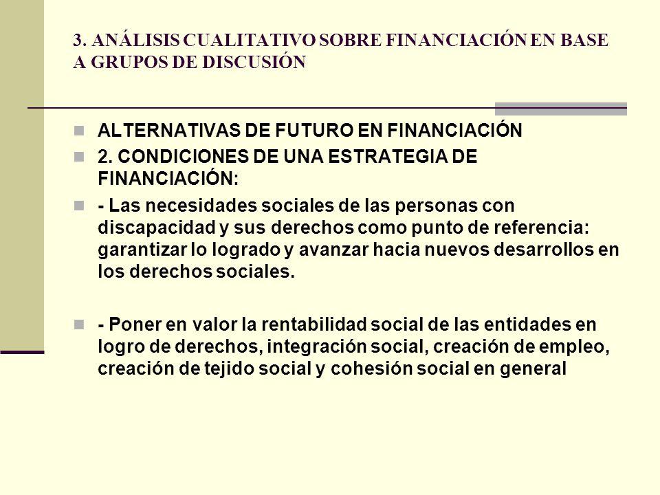 3. ANÁLISIS CUALITATIVO SOBRE FINANCIACIÓN EN BASE A GRUPOS DE DISCUSIÓN ALTERNATIVAS DE FUTURO EN FINANCIACIÓN 2. CONDICIONES DE UNA ESTRATEGIA DE FI