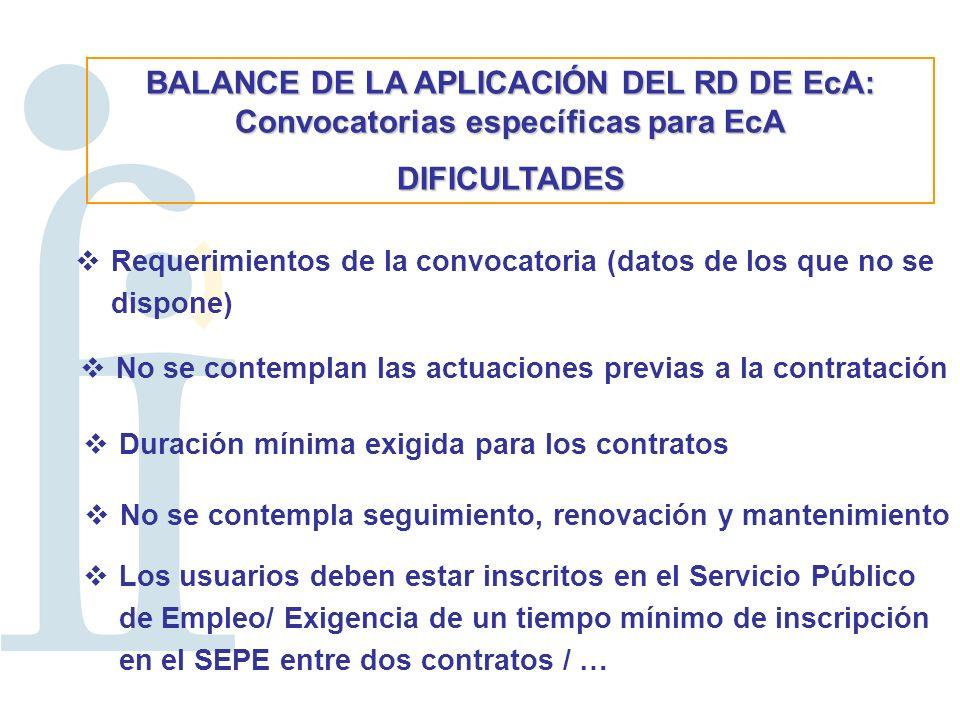 BALANCE DE LA APLICACIÓN DEL RD DE EcA: Convocatorias específicas para EcA DIFICULTADES Requerimientos de la convocatoria (datos de los que no se dispone) No se contemplan las actuaciones previas a la contratación Duración mínima exigida para los contratos No se contempla seguimiento, renovación y mantenimiento Los usuarios deben estar inscritos en el Servicio Público de Empleo/ Exigencia de un tiempo mínimo de inscripción en el SEPE entre dos contratos / …