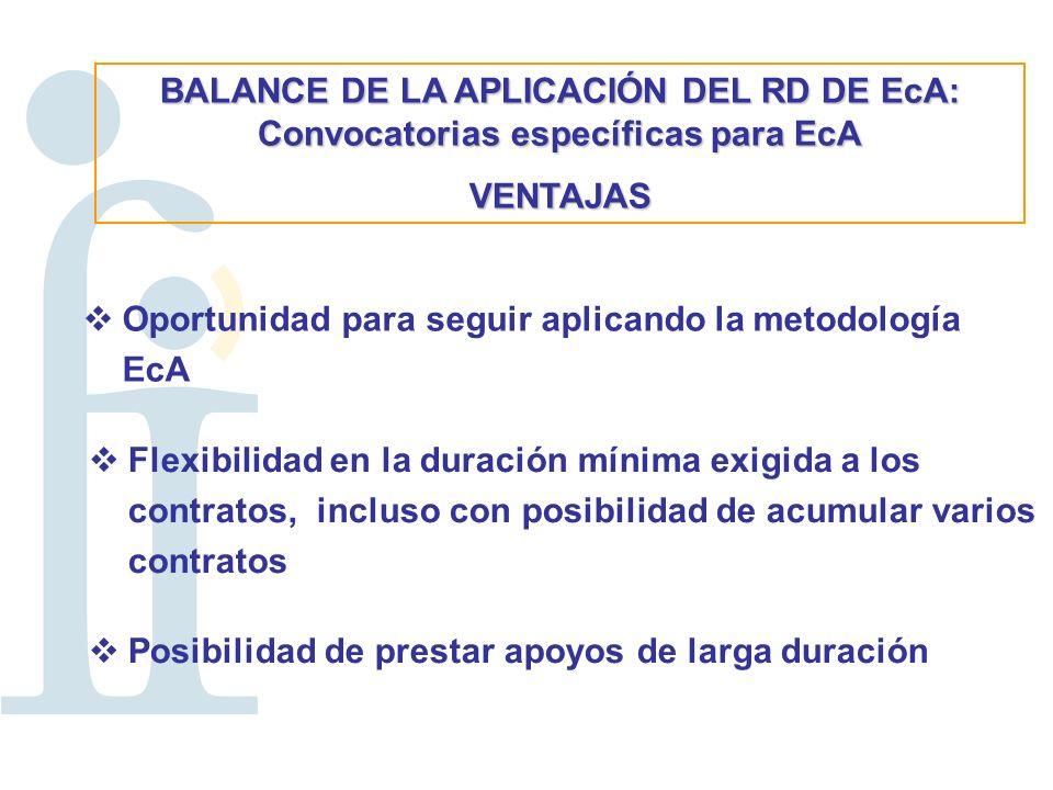 BALANCE DE LA APLICACIÓN DEL RD DE EcA: Convocatorias específicas para EcA VENTAJAS Oportunidad para seguir aplicando la metodología EcA Flexibilidad en la duración mínima exigida a los contratos, incluso con posibilidad de acumular varios contratos Posibilidad de prestar apoyos de larga duración