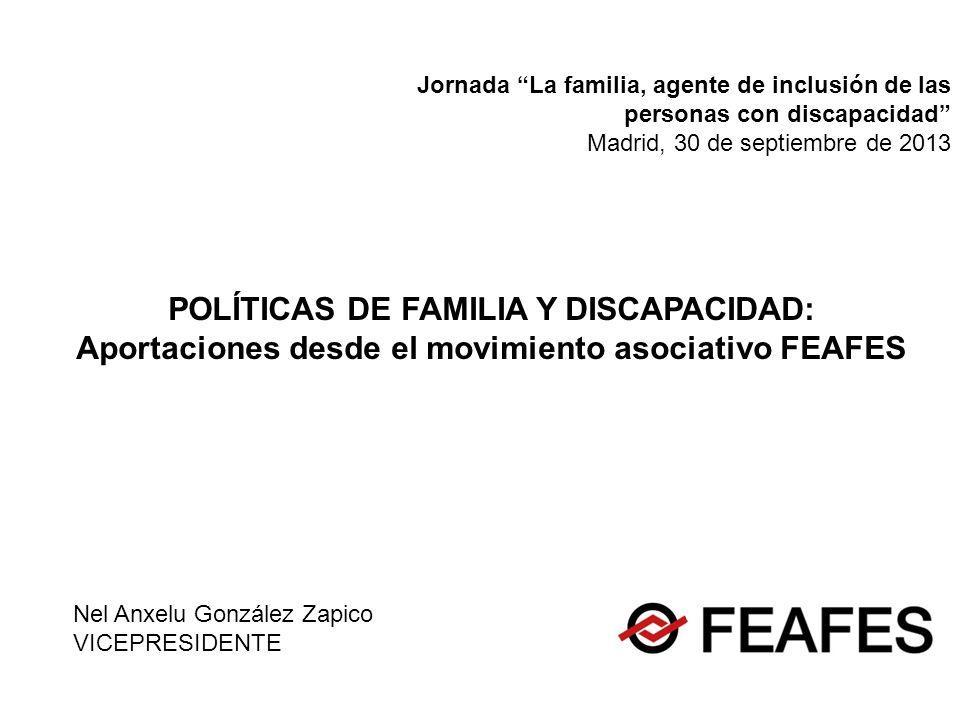Nel Anxelu González Zapico VICEPRESIDENTE POLÍTICAS DE FAMILIA Y DISCAPACIDAD: Aportaciones desde el movimiento asociativo FEAFES Jornada La familia,