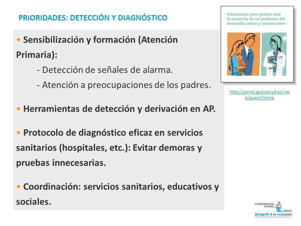 Sensibilización y formación (Atención Primaria): - Detección de señales de alarma. - Atención a preocupaciones de los padres. Herramientas de detecció