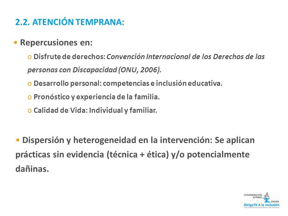 2.2. ATENCIÓN TEMPRANA: Repercusiones en: o Disfrute de derechos: Convención Internacional de los Derechos de las personas con Discapacidad (ONU, 2006