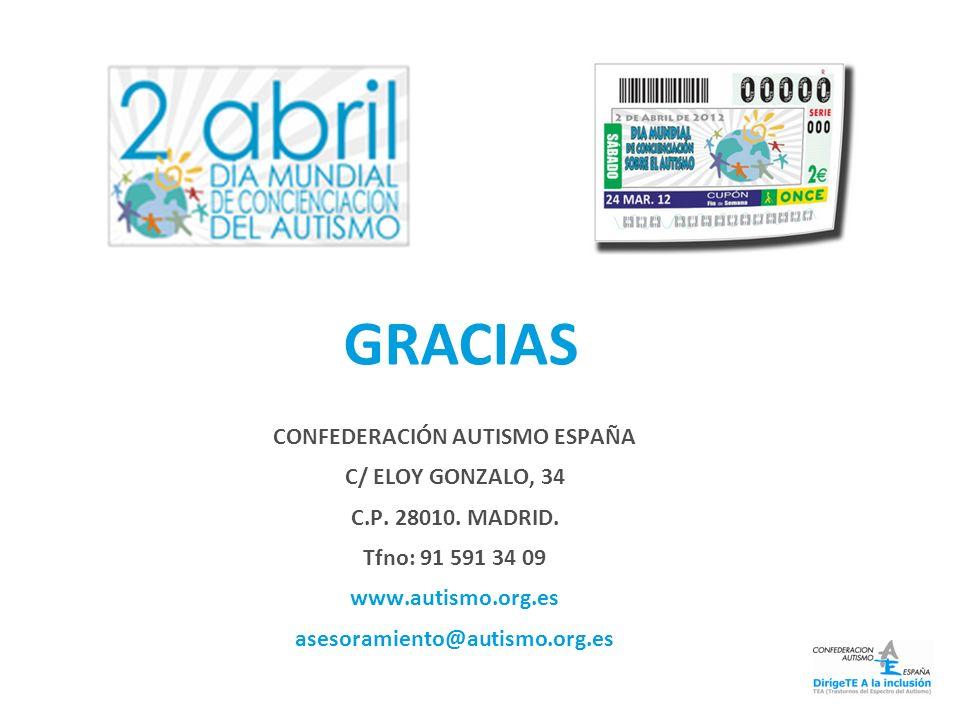CONFEDERACIÓN AUTISMO ESPAÑA C/ ELOY GONZALO, 34 C.P. 28010. MADRID. Tfno: 91 591 34 09 www.autismo.org.es asesoramiento@autismo.org.es GRACIAS