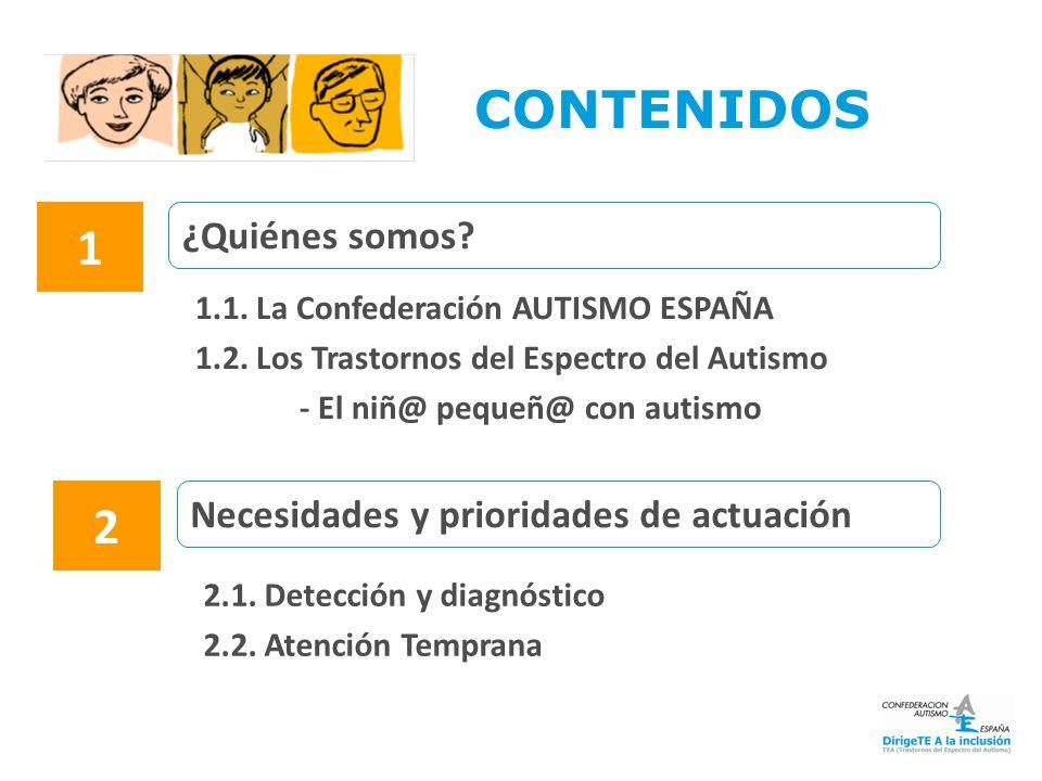 ¿Quiénes somos? Necesidades y prioridades de actuación 1.1. La Confederación AUTISMO ESPAÑA 1.2. Los Trastornos del Espectro del Autismo - El niñ@ peq