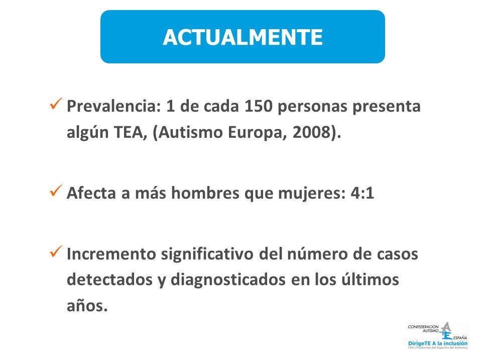 Prevalencia: 1 de cada 150 personas presenta algún TEA, (Autismo Europa, 2008). Afecta a más hombres que mujeres: 4:1 Incremento significativo del núm