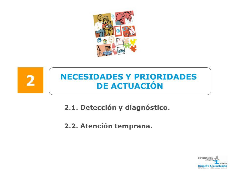 NECESIDADES Y PRIORIDADES DE ACTUACIÓN 2 2.1. Detección y diagnóstico. 2.2. Atención temprana.