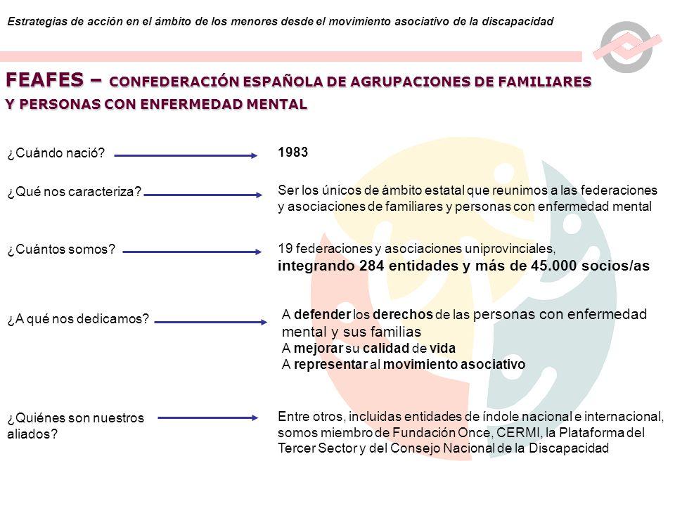 2 Estrategias de acción en el ámbito de los menores desde el movimiento asociativo de la discapacidad FEAFES – CONFEDERACIÓN ESPAÑOLA DE AGRUPACIONES