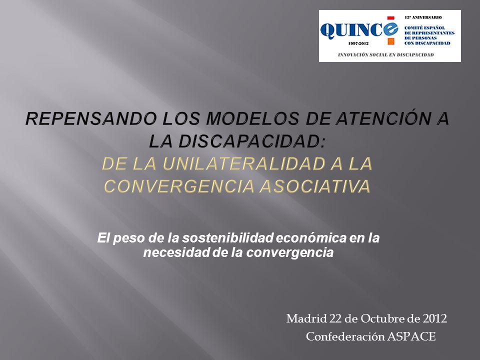 El peso de la sostenibilidad económica en la necesidad de la convergencia Madrid 22 de Octubre de 2012 Confederación ASPACE