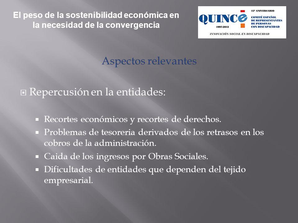 Aspectos relevantes Repercusión en la entidades: Recortes económicos y recortes de derechos. Problemas de tesoreria derivados de los retrasos en los c