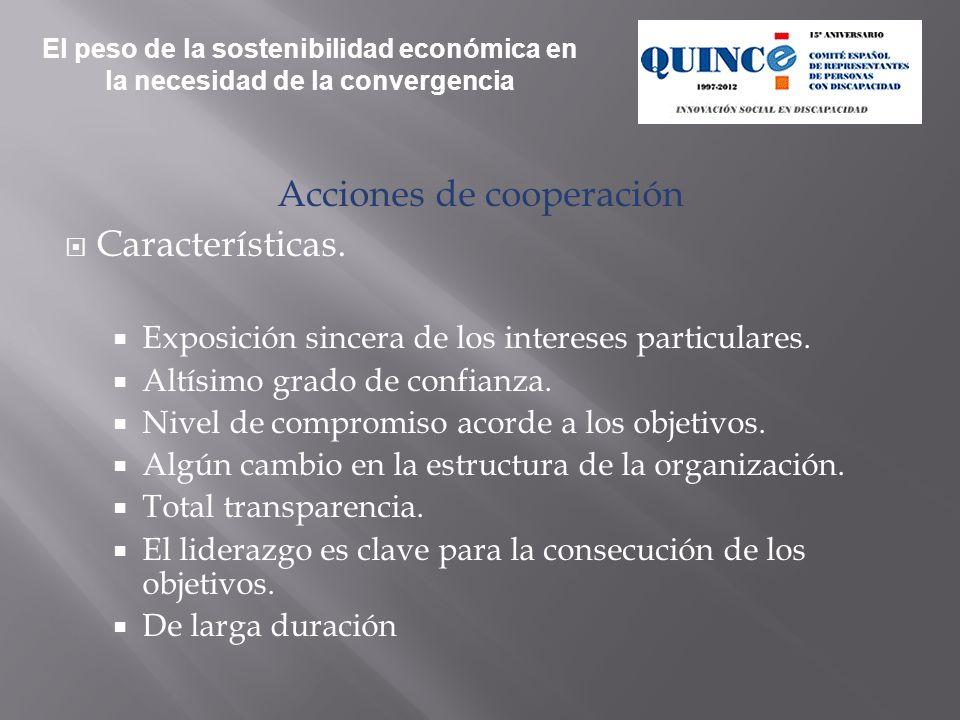 Acciones de cooperación Características. Exposición sincera de los intereses particulares.