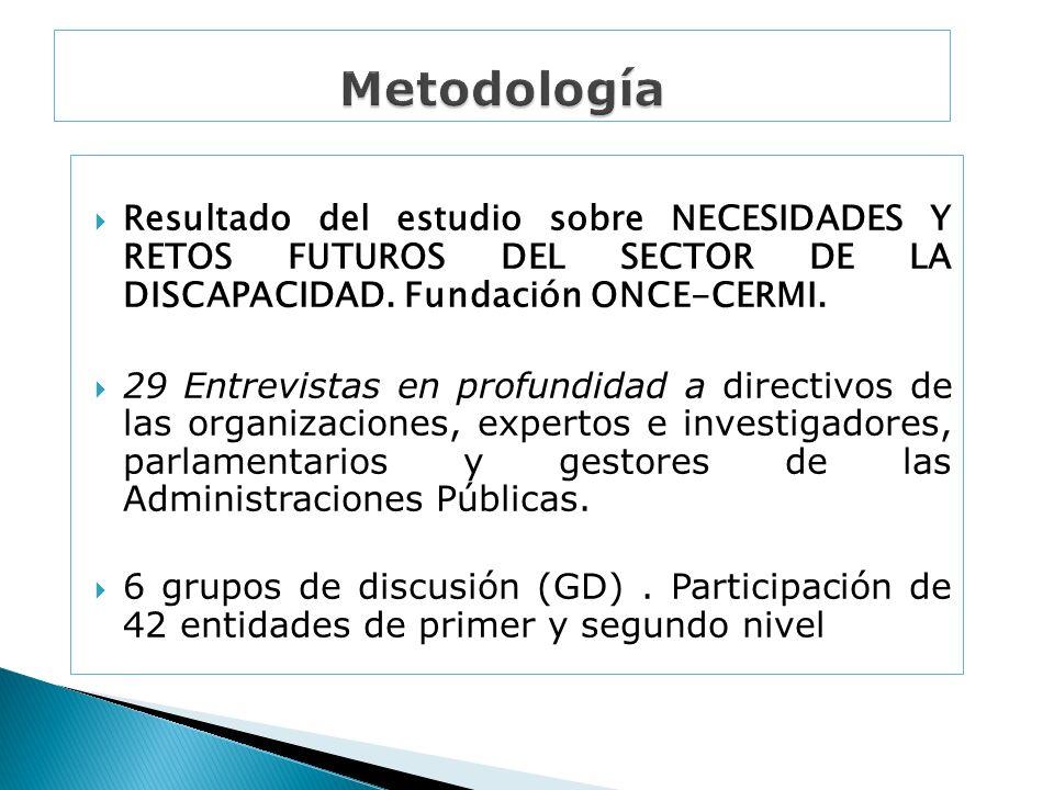 Metodología Resultado del estudio sobre NECESIDADES Y RETOS FUTUROS DEL SECTOR DE LA DISCAPACIDAD. Fundación ONCE-CERMI. 29 Entrevistas en profundidad
