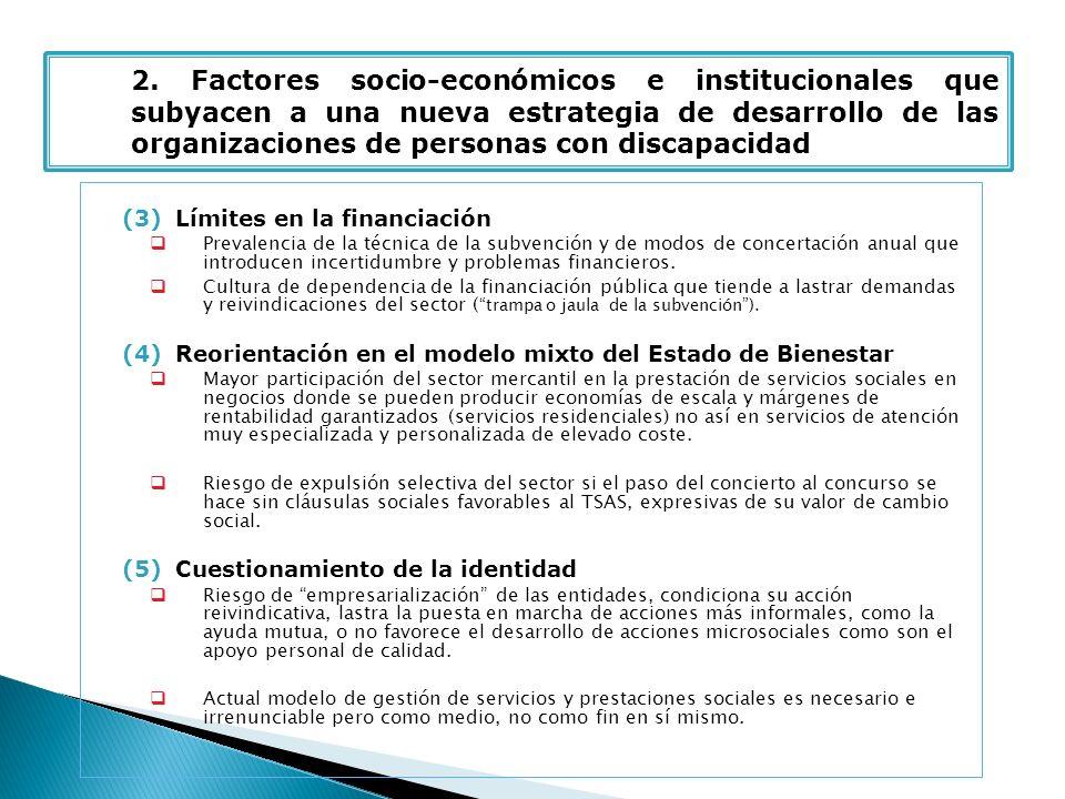 (3)Límites en la financiación Prevalencia de la técnica de la subvención y de modos de concertación anual que introducen incertidumbre y problemas financieros.