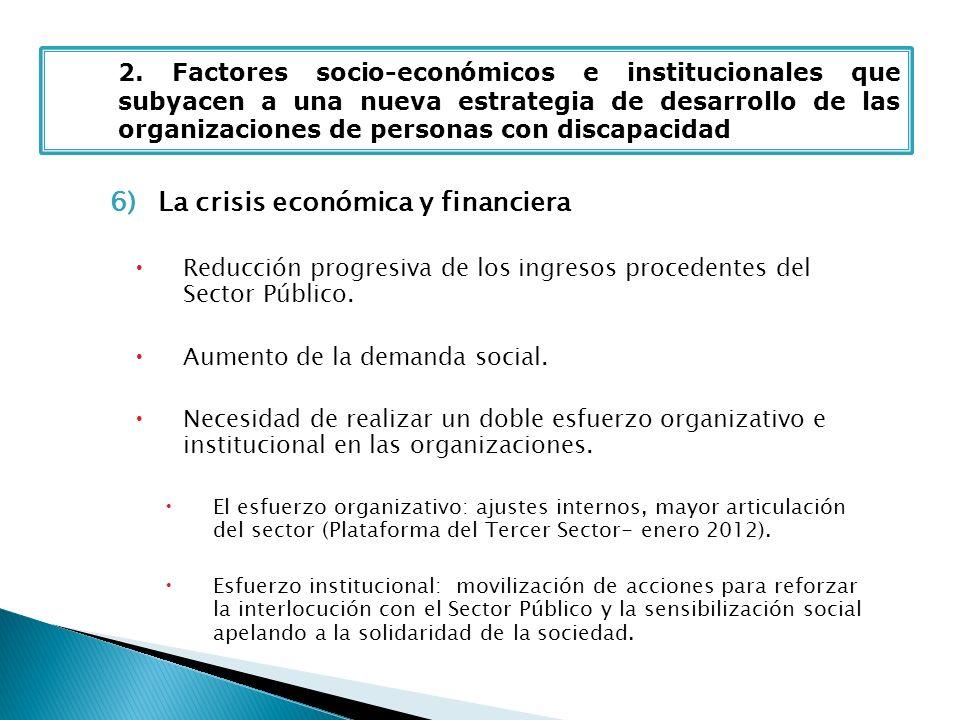 6)La crisis económica y financiera Reducción progresiva de los ingresos procedentes del Sector Público. Aumento de la demanda social. Necesidad de rea