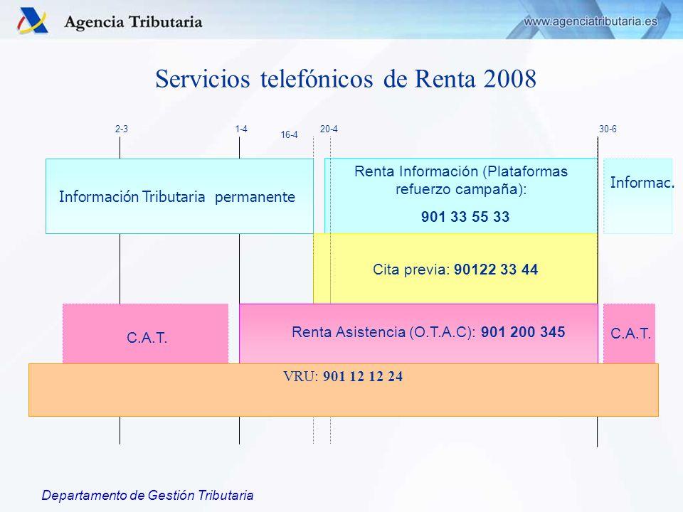 Departamento de Gestión Tributaria Renta Información (Plataformas refuerzo campaña): 901 33 55 33 Cita previa: 90122 33 44 2-31-430-620-4 Información Tributaria permanente Informac.